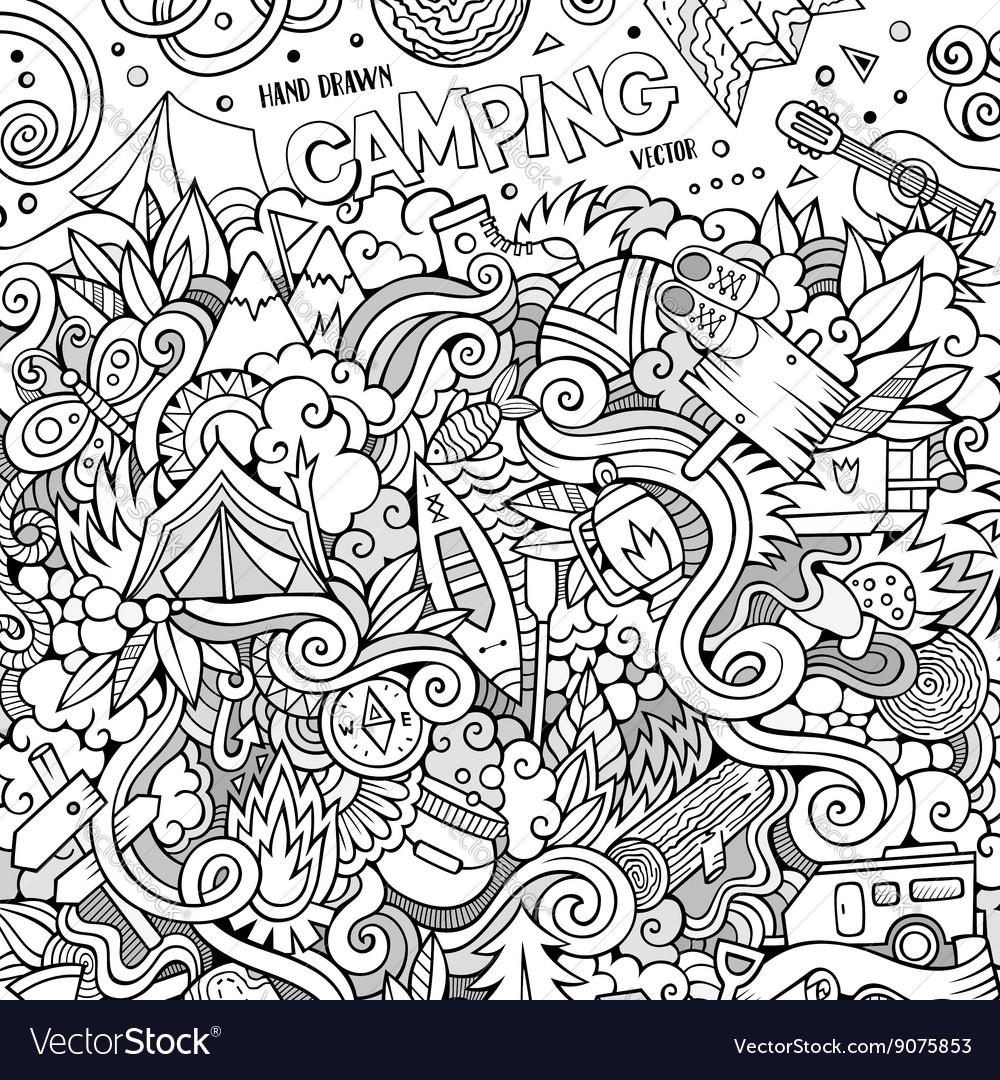 Cartoon hand-drawn doodles camp