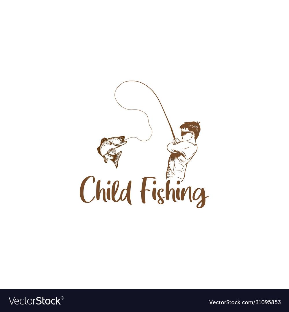 Child fishing hand drawn