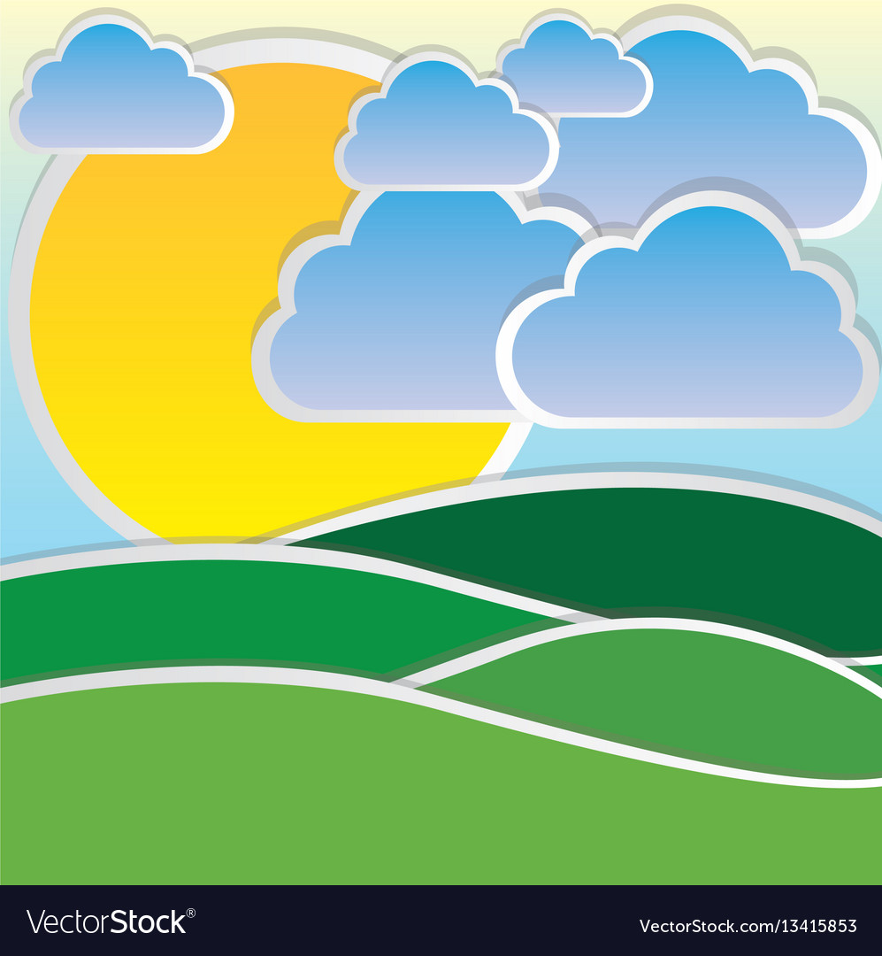 Color sun with cloud and mountain icon