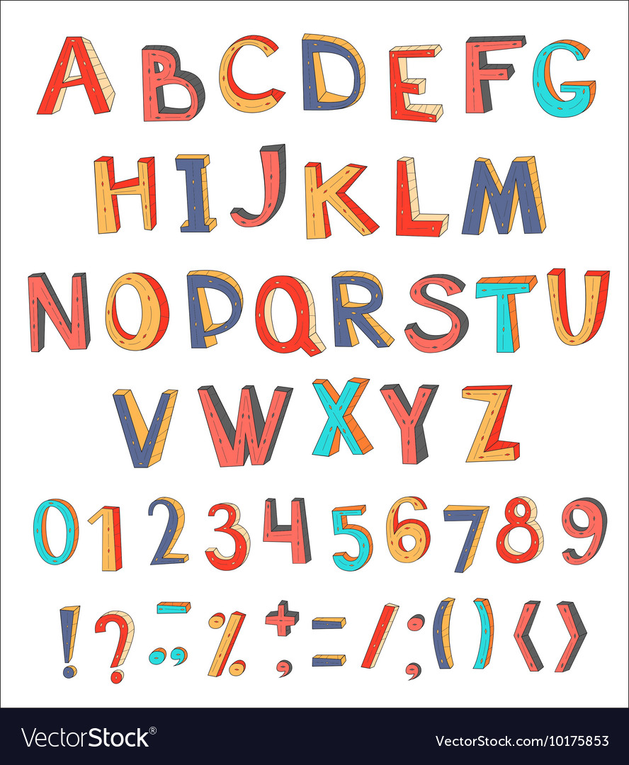 Colorful abstract alphabet with numbers and
