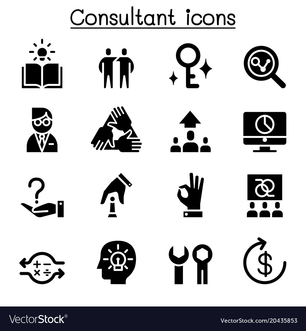 Consultant expert icon set vector image