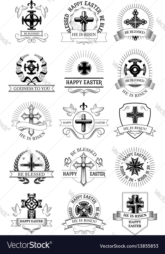 Easter holiday symbol set with crucifix cross vector image