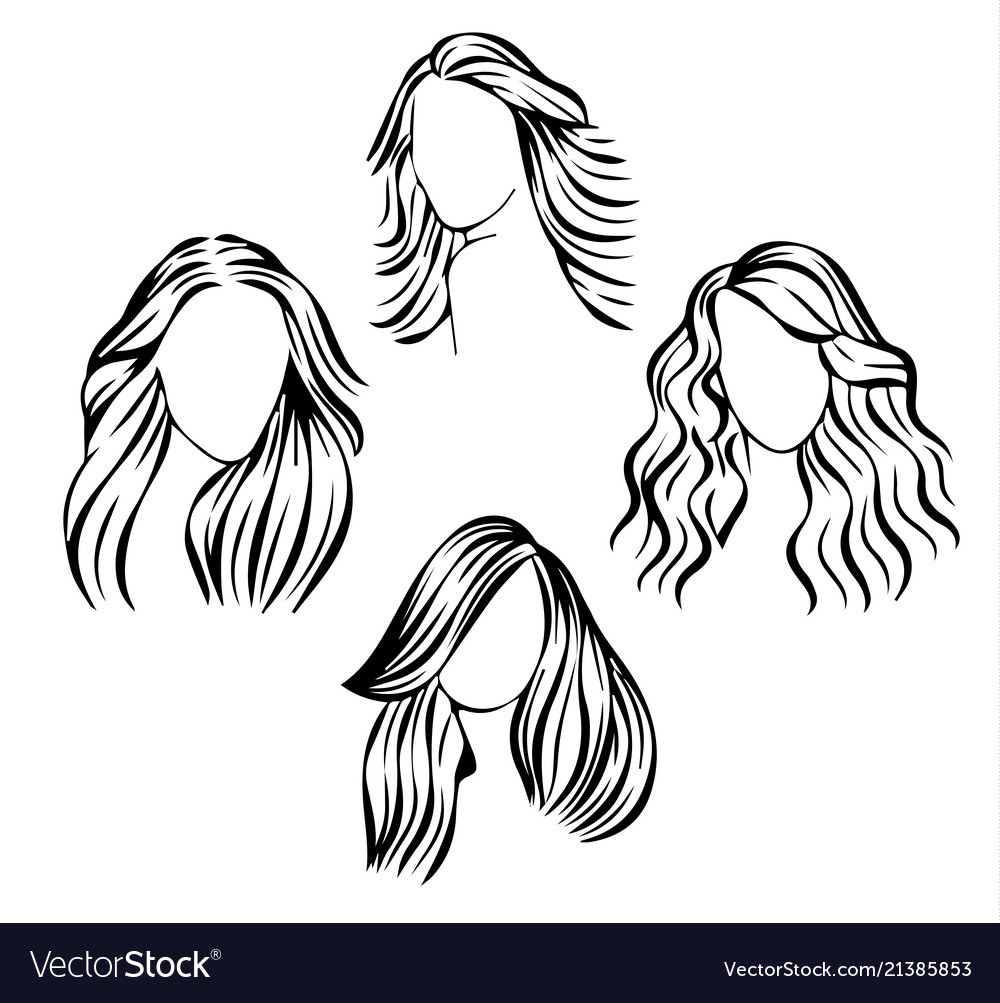 Face icons with hair