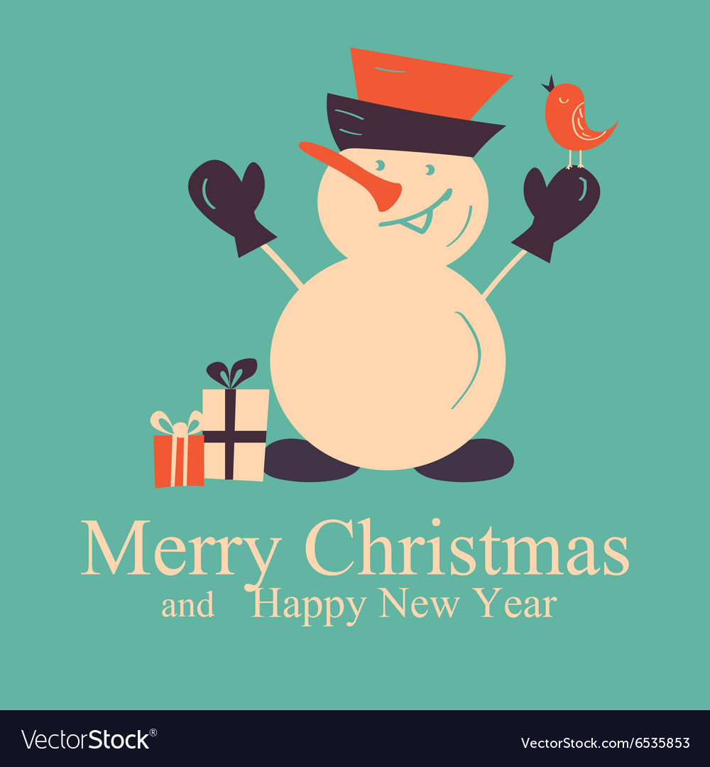 Greeting card with snowman