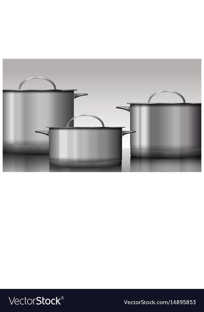 Group of stainless steel kitchenware isolated on vector image
