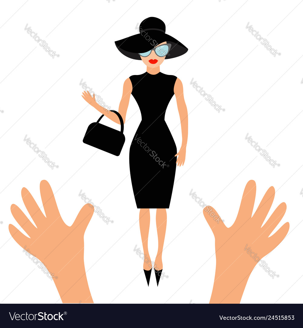 Hands reaching to woman in black hat bag and