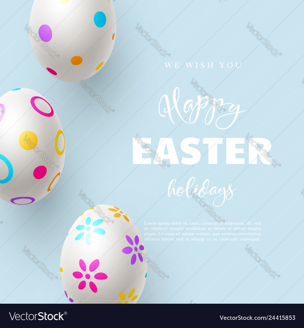 Happy easter holiday composition with easter eggs