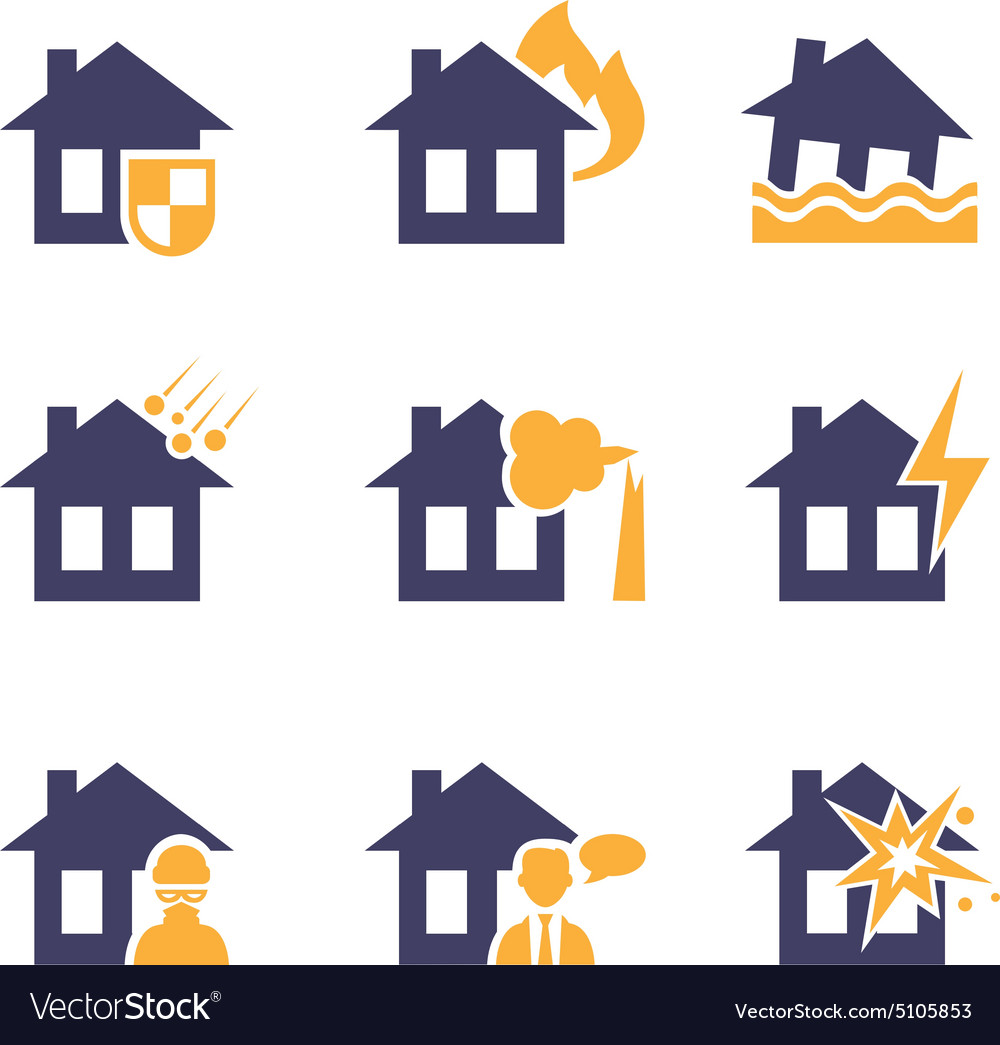 Home And House Insurance Risk Icons Royalty Free Vector