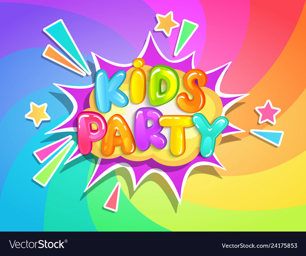 Kids party banner on rainbow background
