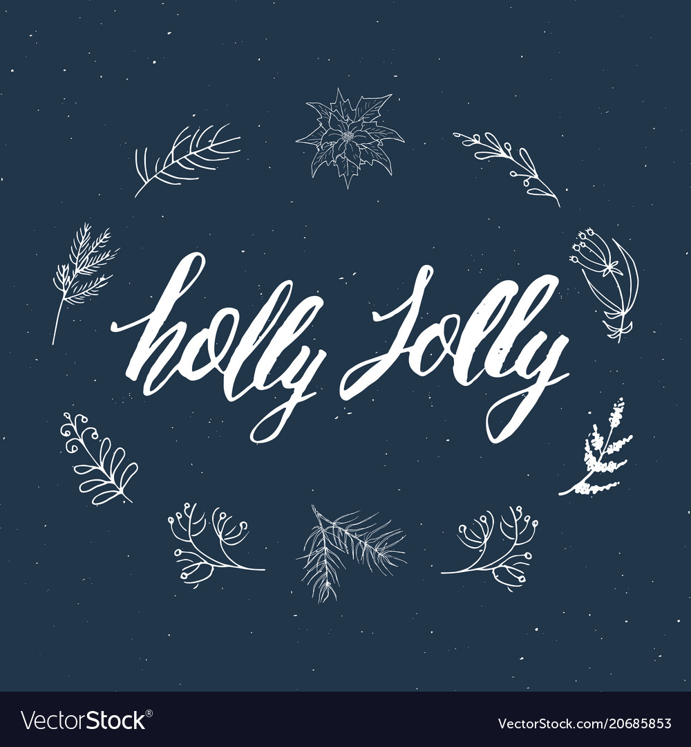 Merry christmas calligraphic lettering holly