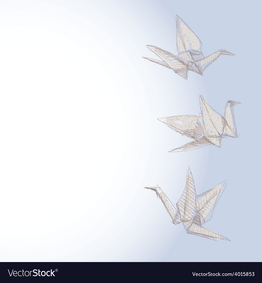Origami crane sketch - symbol of faith hope and