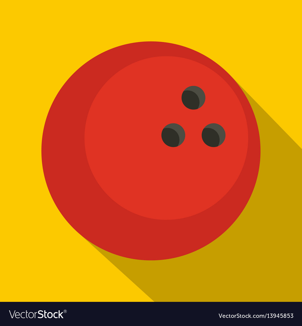 Red marbled bowling ball icon flat style