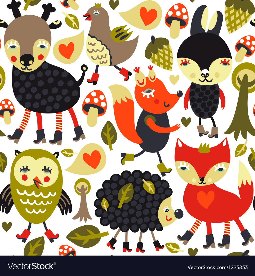 Seamless pattern with woodland animals and birds