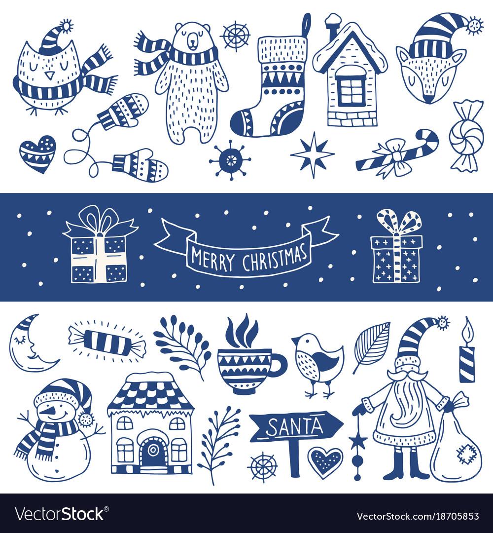 Set of happy christmas icons