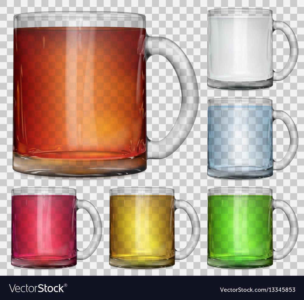 Set of transparent glass cups