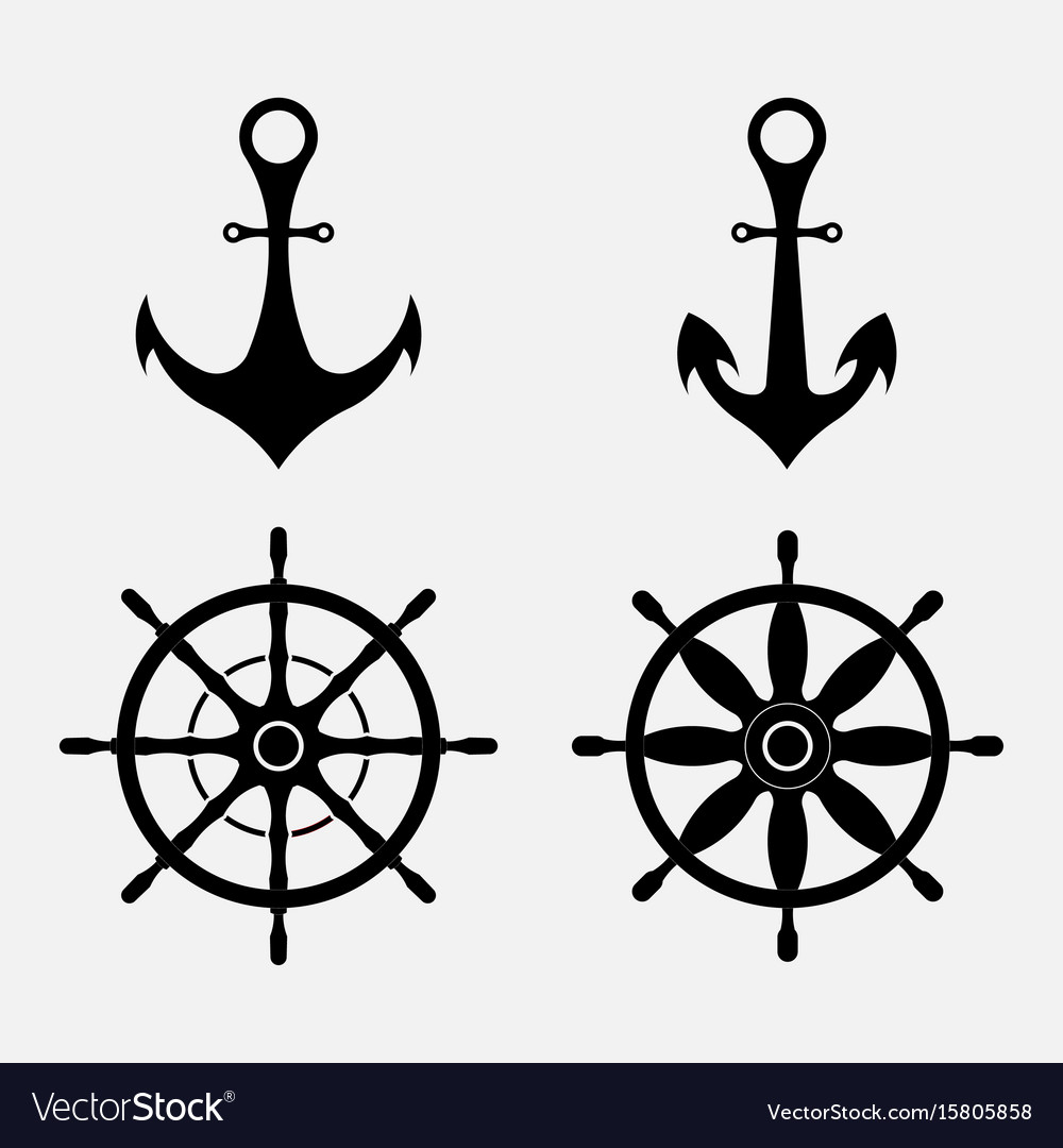 Anchor and steering wheel nautical symbols