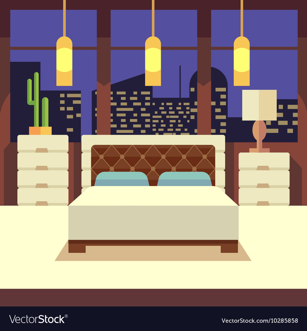 Bedroom interior in flat design style