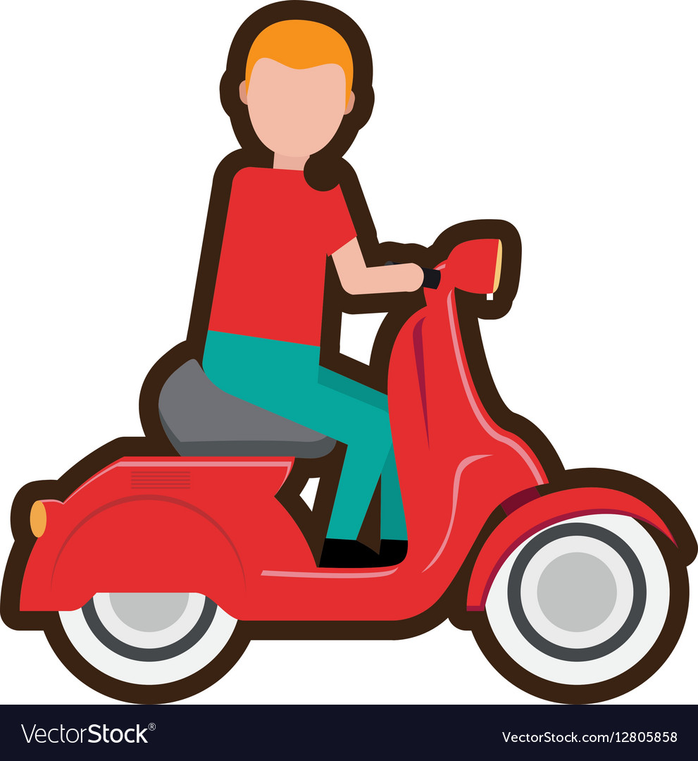 Cartoon delivery boy riding scooter