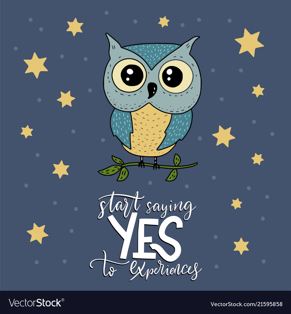 Cute hand drawn card with little owl and