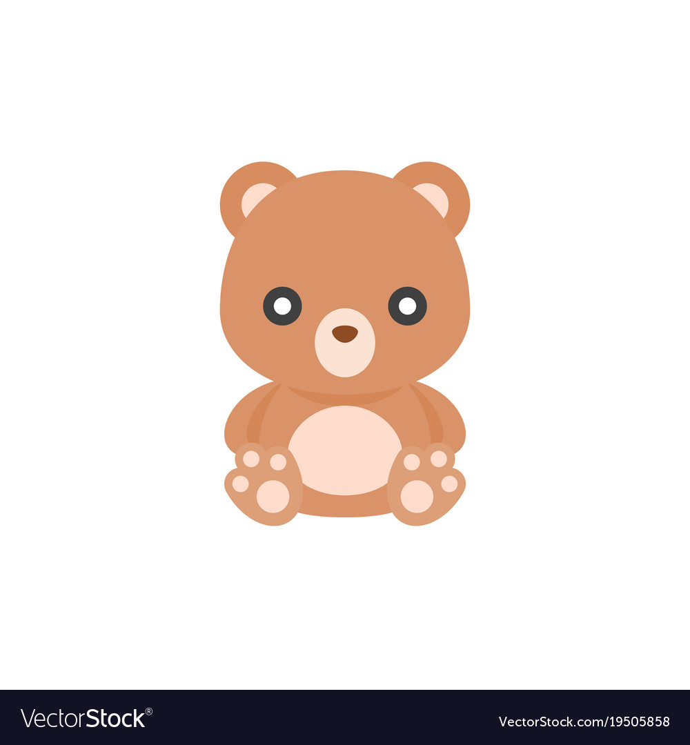 cute teddy bear icon flat design royalty free vector image