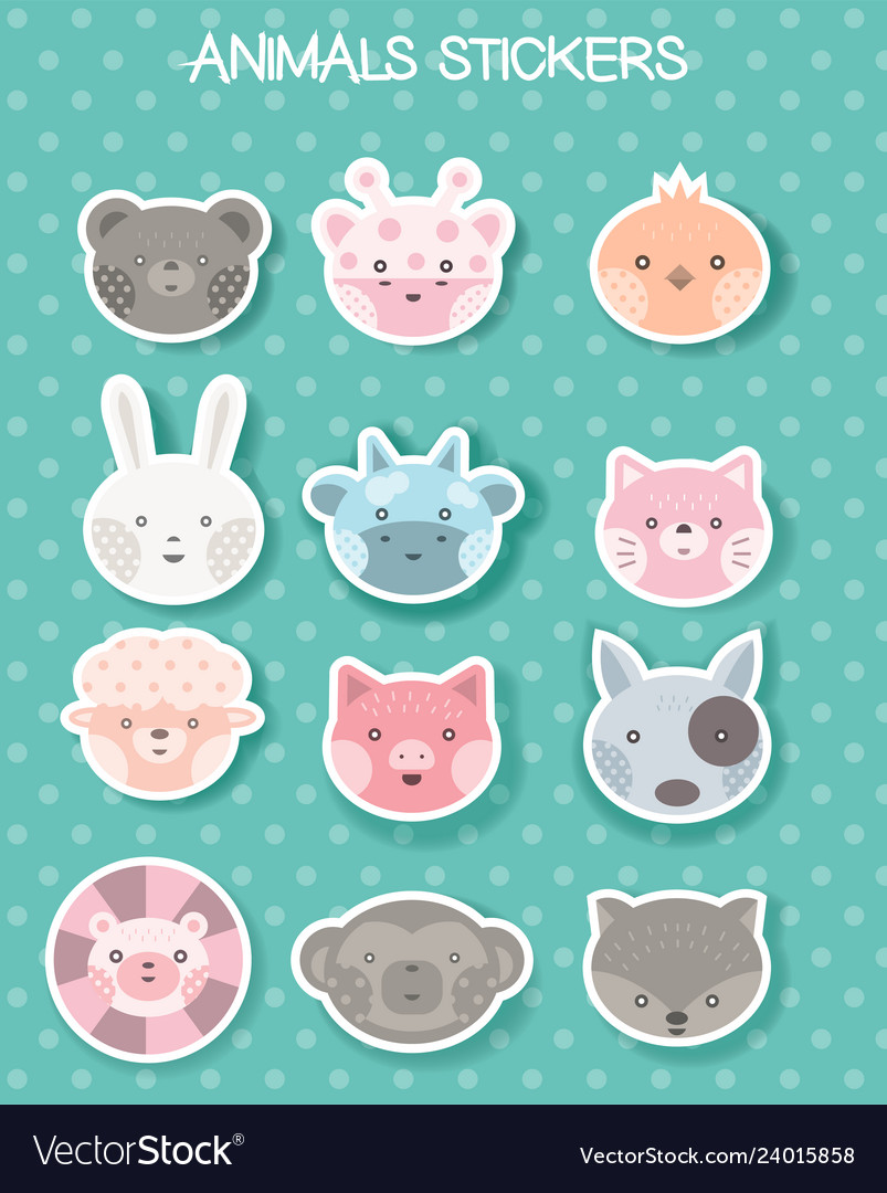 Face animal sticker for printing