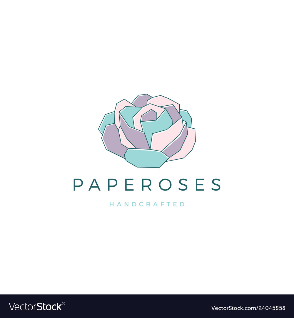 Geometric paper flower rose logo icon line vector