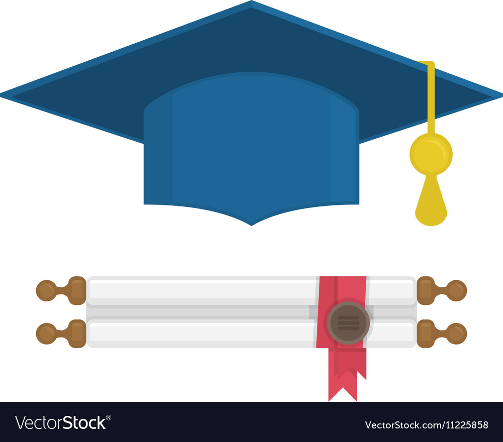 graduation cap and diploma rolled scroll vector image rh vectorstock com graduation cap vector file graduation cap vector png
