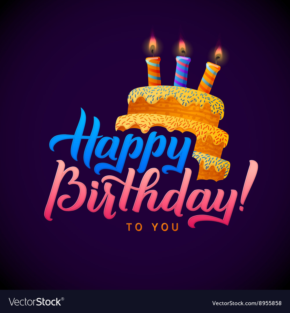 Marvelous Happy Birthday Greeting Card Cake With Candles Vector Image Funny Birthday Cards Online Sheoxdamsfinfo