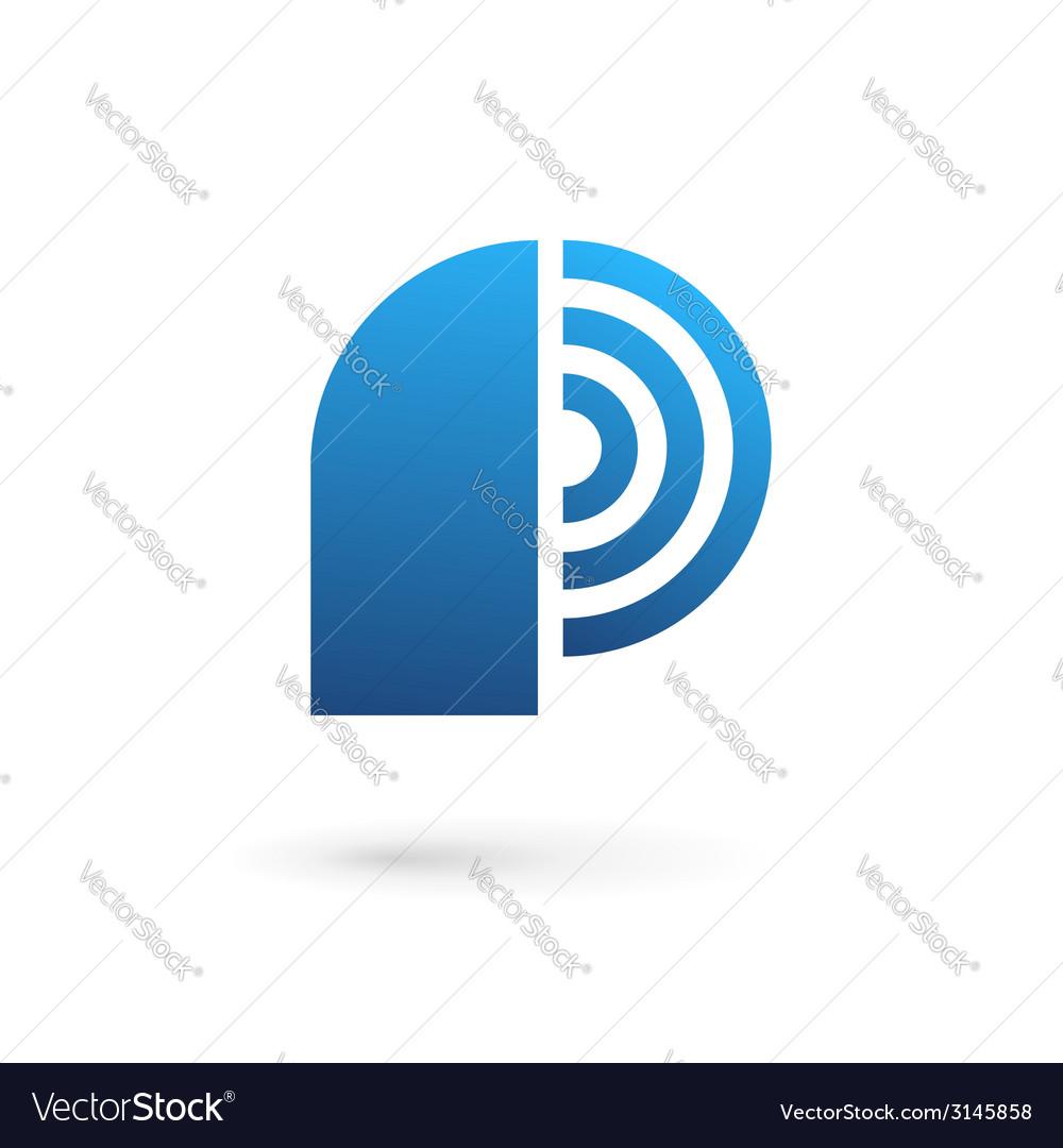 letter p wireless logo icon design template vector image