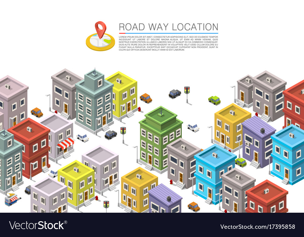 Road in the cityscape isometric