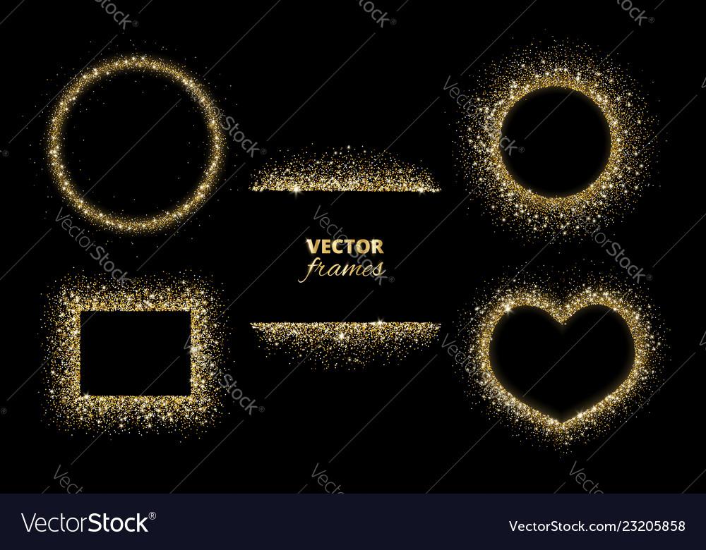 Sparkling glitter borders frames gold