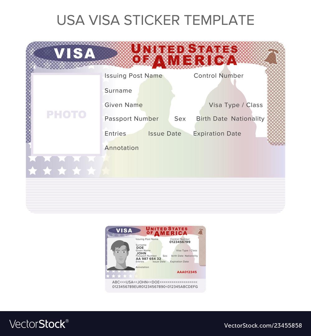 Usa passport visa sticker template in flat style