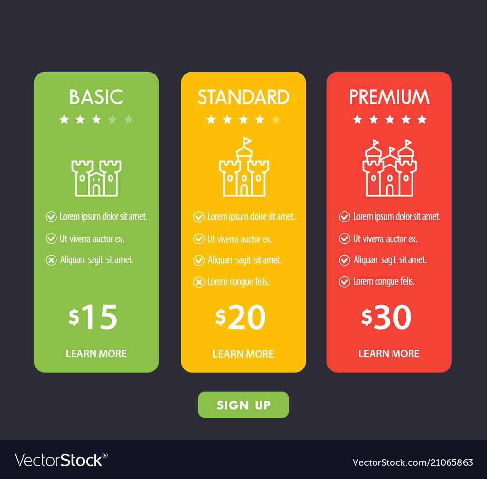 Banner for tariffs set of pricing table boxes