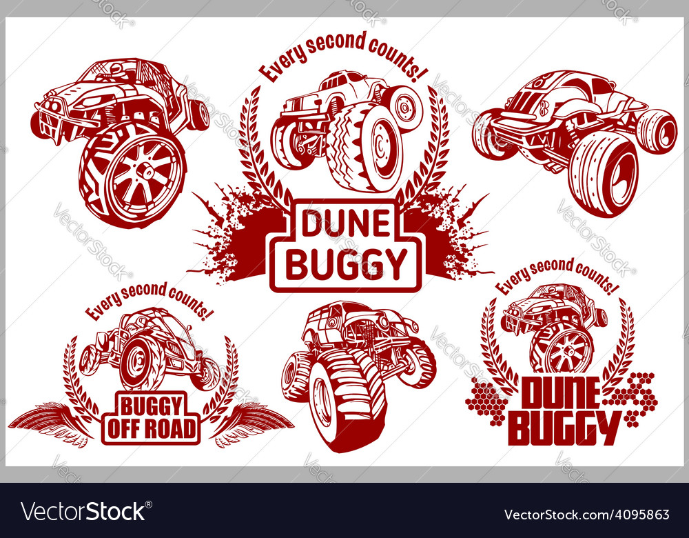 Dune buggy and monster truck - badge