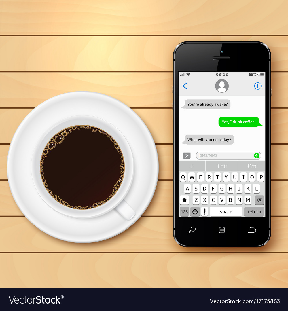 Mobile phone with sms chat on screen and coffee
