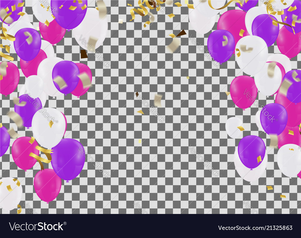 Party balloons confetti and ribbons