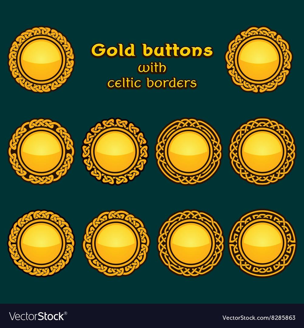 Set of ten golden celtic knotwork buttons