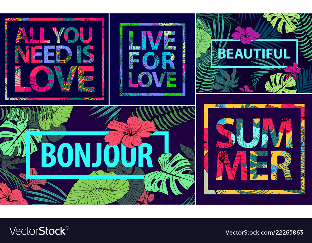 Set tropical quotes posters and banners