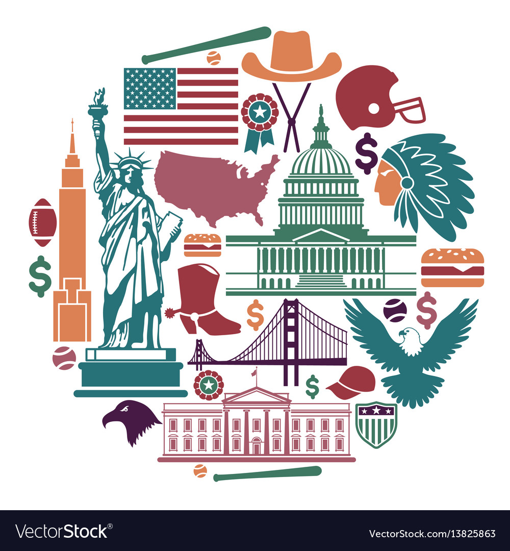 Symbols Of The Usa In The Form Of A Circle Vector Image
