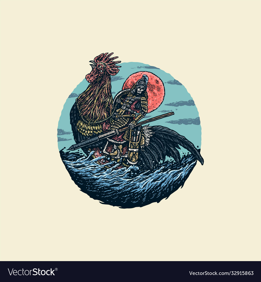 Warrior riding a rooster