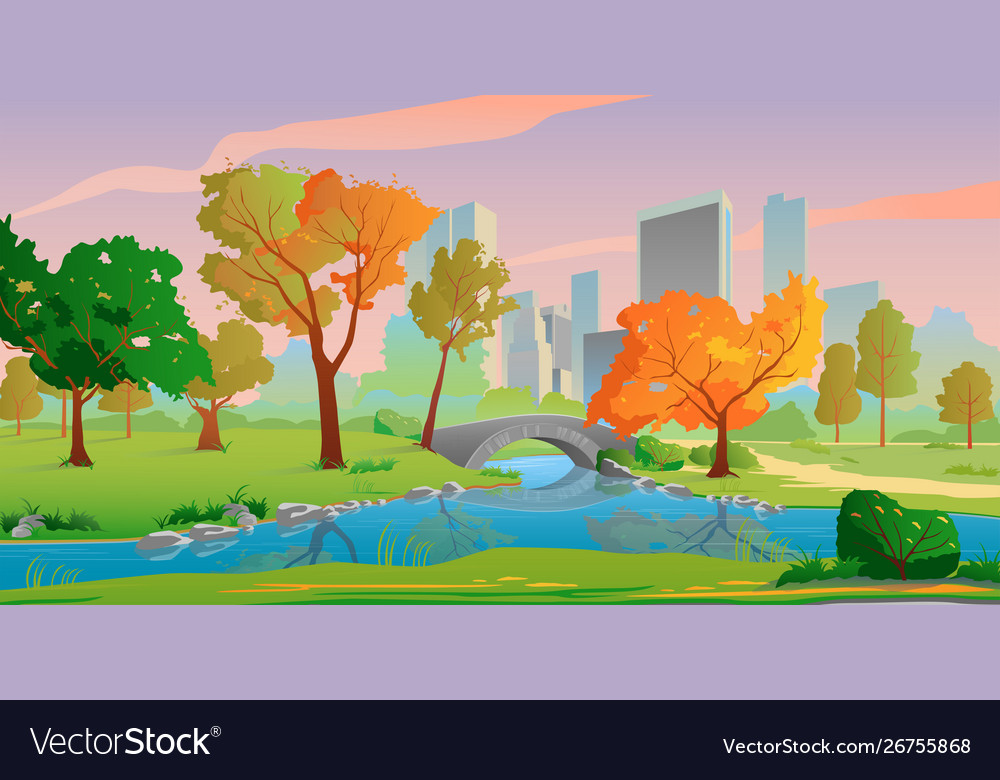 Autumn city landscape with river and yellow trees
