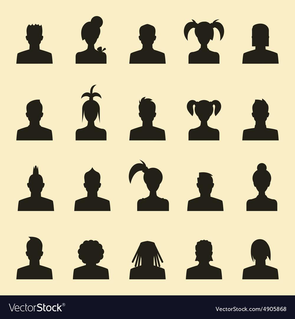 Avatar profile icon head silhouette vector image