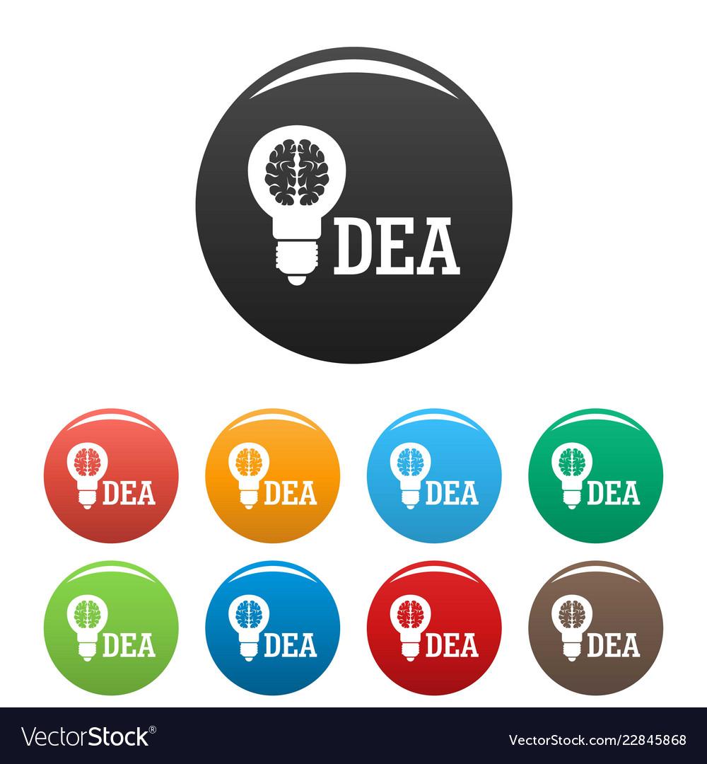 Brain idea icons set color