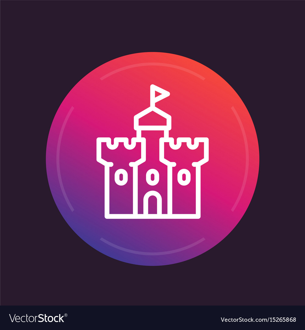 Castle medieval fortress line icon vector image