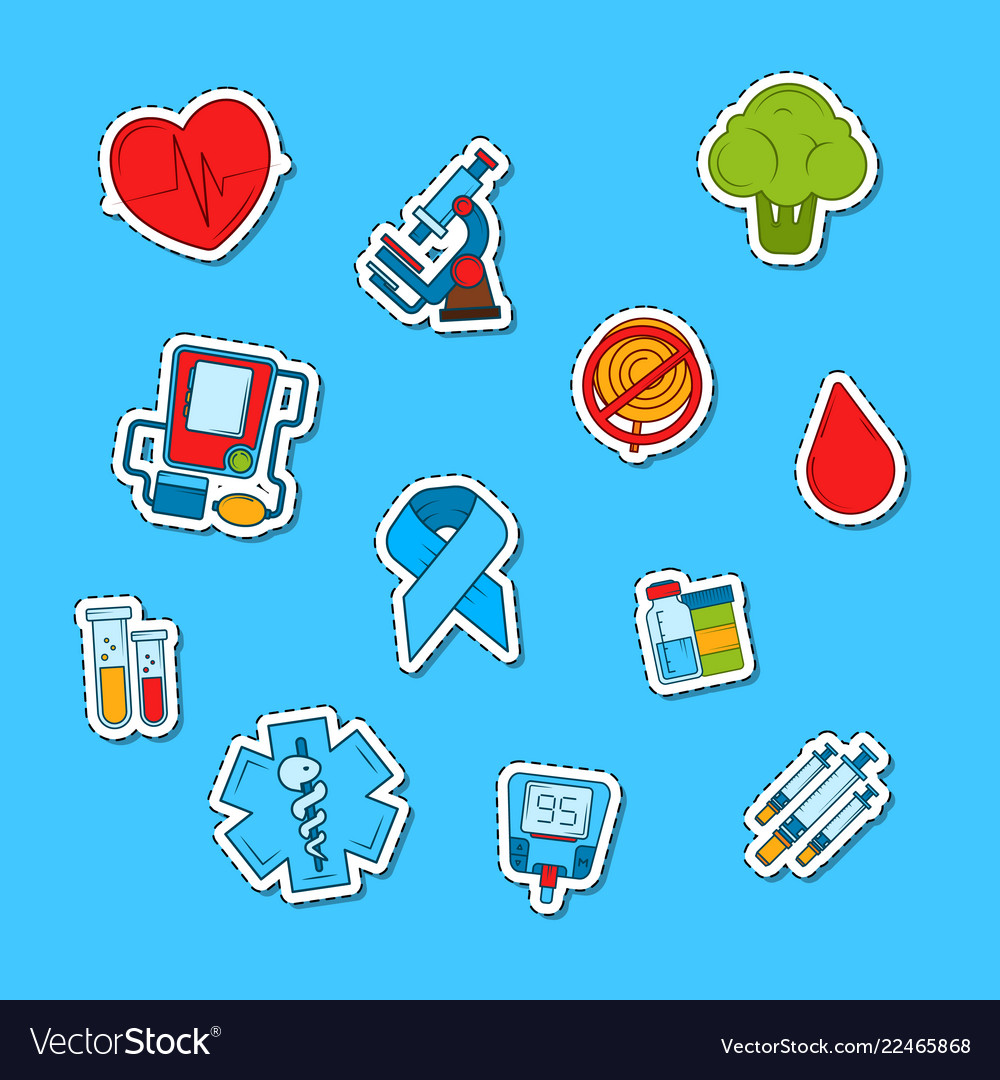Colored diabetes icons stickers set