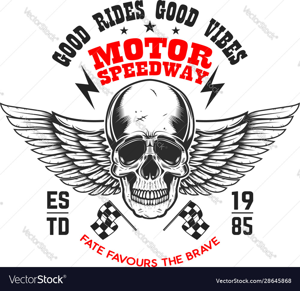 Custom motorcycles poster template with winged