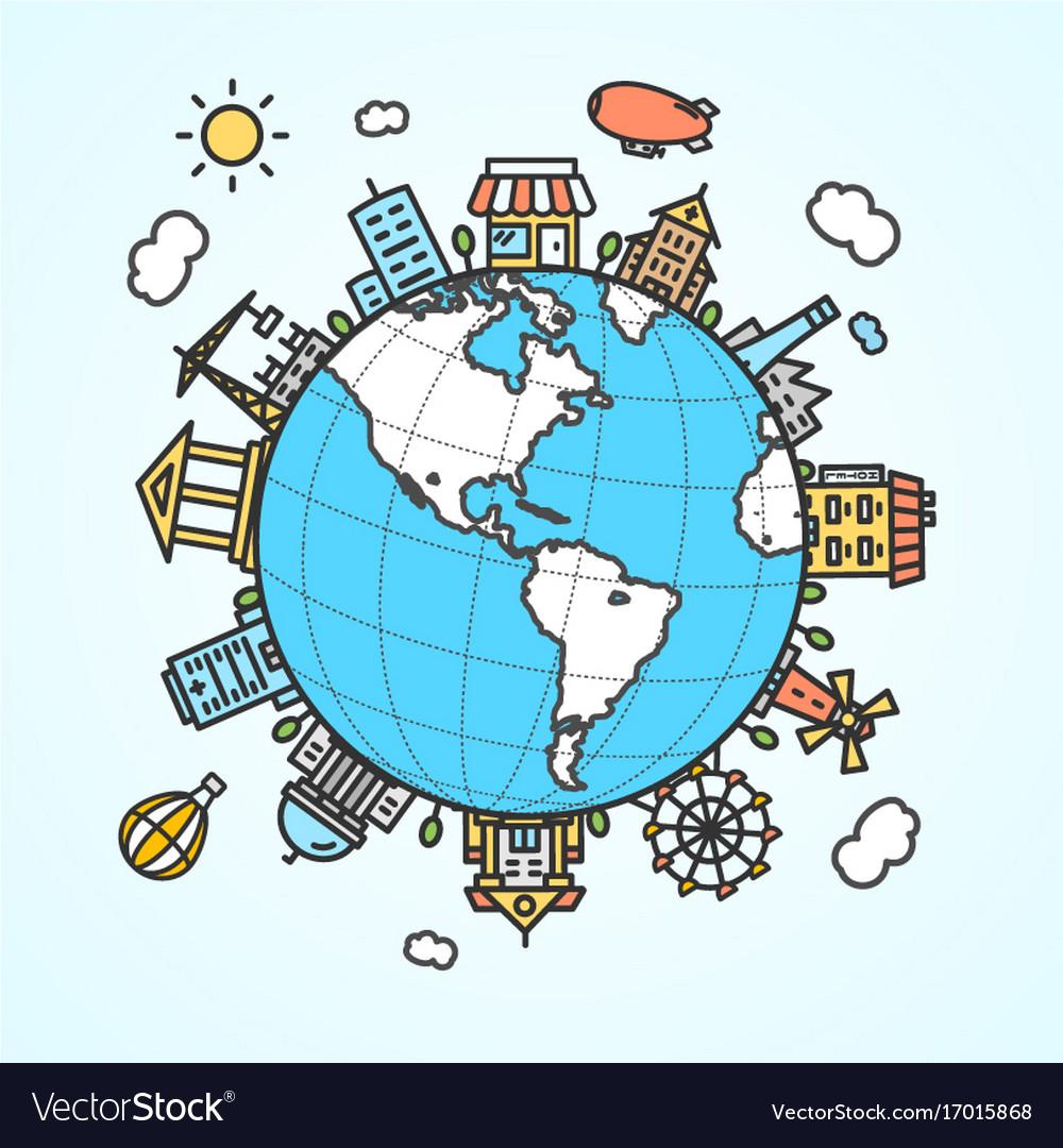 Globe and building around