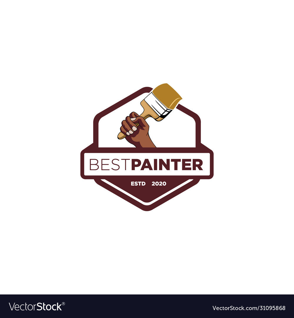 Hand paint brush emblem