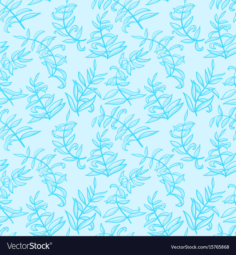 Line art seamless pattern with plants doodle vector image