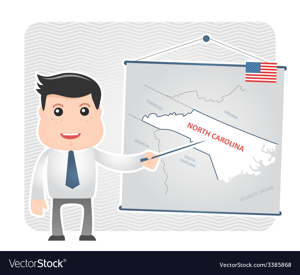 Man with pointer points to map of NORTH CAROLINA vector image